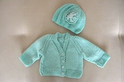 Hand knitted baby girl set cardigan/hat 0 - 2 months