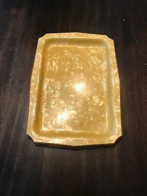 Vintage Yellow Marbled Celluloid Dresser Vanity Tray