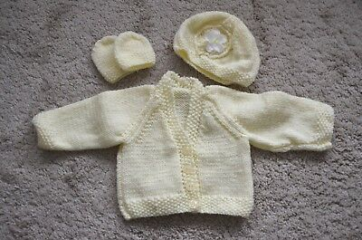 Hand knitted baby girl set cardigan/hat/mitts 2 - 5 months