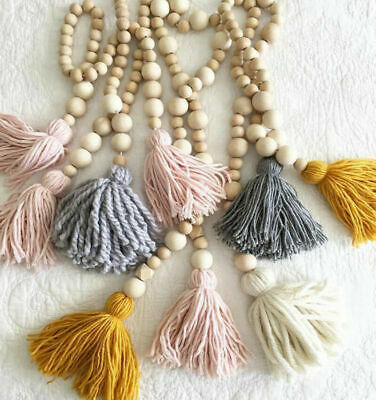 Nordic Style Wooden Beads String With Tassel Tent Wall Hanging Car Home Decor