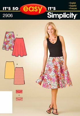 Simplicity 2906. Misses' Easy Flared, Pencil Skirts & Clutch. Sz 8-18. FF. OOP