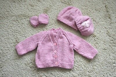 Hand knitted baby girl set cardigan/2 hats/mitts 0 - 3 months