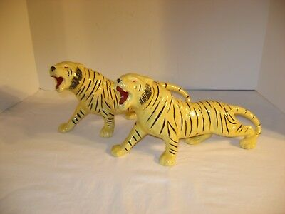 Pair Vintage Bengal Tigers Cats on the Prowl Ceramic Statues Figures