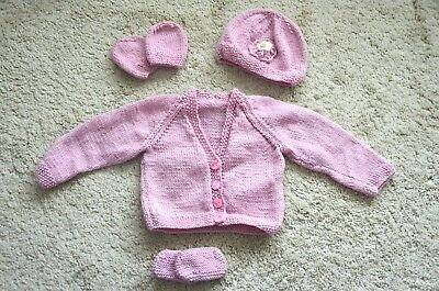 Hand knitted baby girl set cardigan/hat/mitts/shoes 2 - 5 months