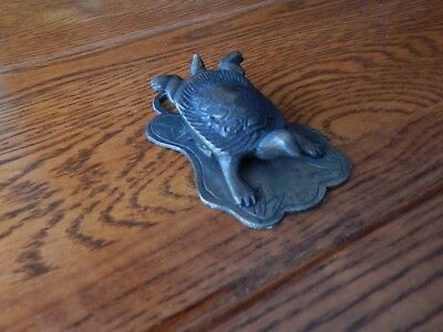 """Brass Turtle Letter Desk or Paper Clip Turtle Marked CHINA 3 7/8"""" Long"""
