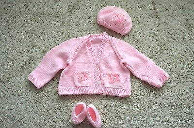 Hand knitted baby girl set cardigan/hat/shoes 3 - 6 months