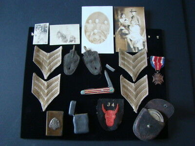 World War 1 Group Of Patches,Photos,Pocket Knife,Cases,Cup, Etc. From Estate