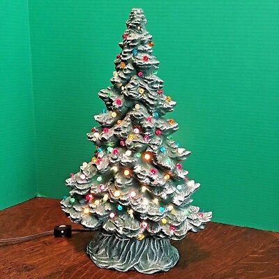 """Vtg Ceramic 2 Piece Lighted TREE - 16"""" T - Lightly Frosted & Applied Sparkle"""