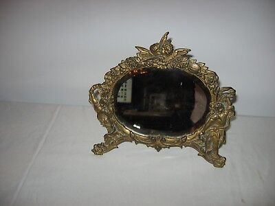 Vintage Antique Gold Metal Cherub Vanity Mirror Beveled Swing Arm Stand