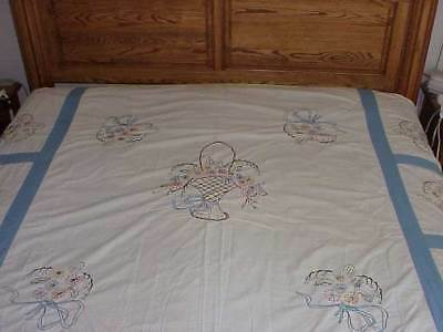 "Quilt Top Embroidered Flowers 55"" x 67"" Free Ship"