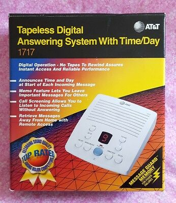 AT&T Tapeless Digital Answering System With Time/Day Stamp White #1717