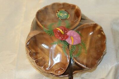 NIP Hawaiian Monkey Pod 3 Appetizer Bowls with 3 spoons and 1 8-inch plate FrSHP