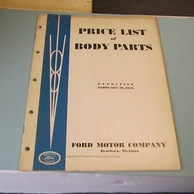 1936 Ford Motor Company Price List of Body Parts Car Truck Automobile Catalog