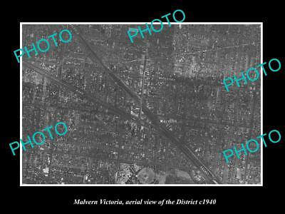 OLD LARGE HISTORIC PHOTO OF MELBOURNE VICTORIA, AERIAL VIEW OF MALVERN c1940
