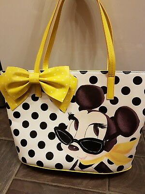 Disney Store Minnie Mouse Signature Collection Ladies Tote Bag Yellow Polka Dots