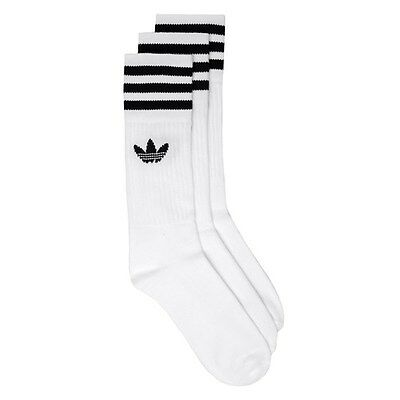 New Mens adidas White 3 Pack Solid Crew Cotton/Polyester Socks