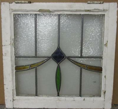 "OLD ENGLISH LEADED STAINED GLASS WINDOW Pretty Swag Design 22.5"" x 21.5"""