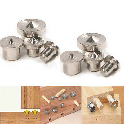 8 Pcs Metal Dowel Pins Center Point Set Transfer Plugs Woodworking Tool Silver