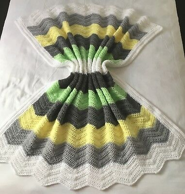 Handmade Crochet Baby Bassinet Car Cot Floor Pram Wrap Blanket Chevron Neutral