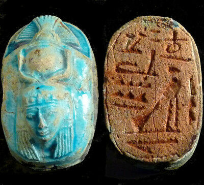 LARGE Egyptian Blue Glazed Scarab with Head of ISIS, Inscription X Boningtons UK