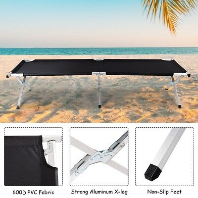 Portable Aluminum Heavy Duty Folding Camping Hiking Trabel Cot Bed with Bag US
