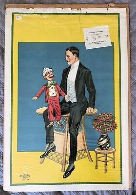 c.1900 Ventriloquist Dummy Sideshow Circus Half Sheet 30x20 Lithograph Donaldson