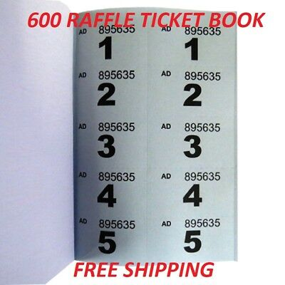 600 Raffle Check Ticket Booklet - Raffles Competitions Fundraiser Entry Token