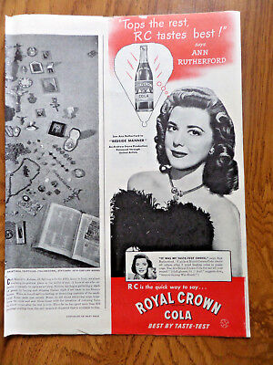 1945 RC Royal Crown Cola Ad Movie Hollywood Star Ann Rutherford