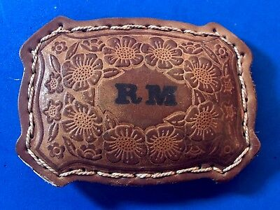 Vintage Leather Artisan Belt Buckle with RM initials