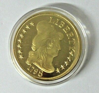 American Mint 24k Gold Plated 1798 $5 Small Eagle Replica Proof Coin