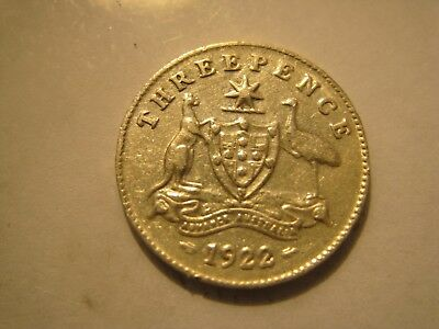 1922 Threepence with high definition