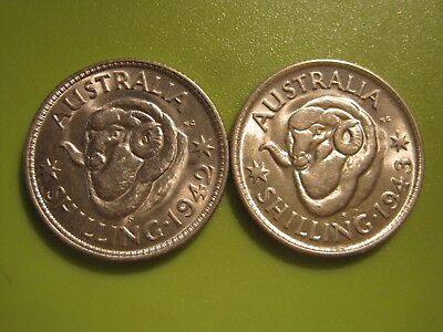 1942 s and 1943 s Shillings in high grade