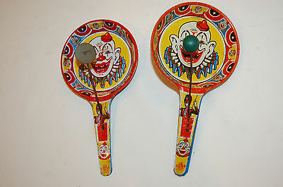 2 Vintage US Metal Toys Noise Maker, Clowns, Free Shipping.