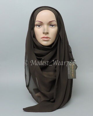 High Quality Chiffon Maxi Hijab Scarf Muslim Headcover Deep Brown 180x70 cm