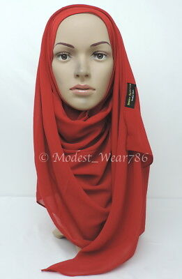 High Quality Chiffon Maxi Hijab Scarf Muslim Headcover Red 180x70 cm