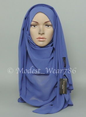 High Quality Chiffon Maxi Hijab Scarf Muslim Headcover Royal Blue 180x70 cm