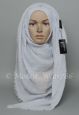 Premium Cotton Viscose Maxi Crinkle Hijab Scarf Muslim Light Gray 180x100cm