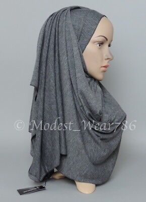 Premium Cotton Jersey Hijab Scarf Islam Muslim Headwear Dark Heather Gray 170X55