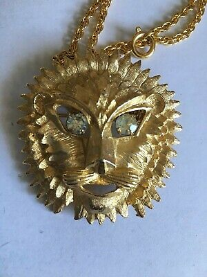 Large Lion Head Pendant gold tone heavy with crystal dangle eyes and chain