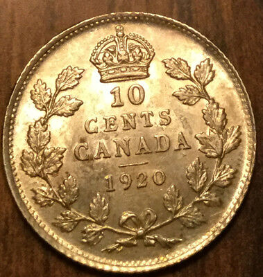 1920 CANADA SILVER 10 CENTS - Uncirculated to choice!