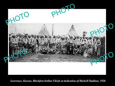 OLD LARGE HISTORIC PHOTO OF LAWRENCE KANSAS, THE BLACKFEET INDIAN CHIEFS c1926