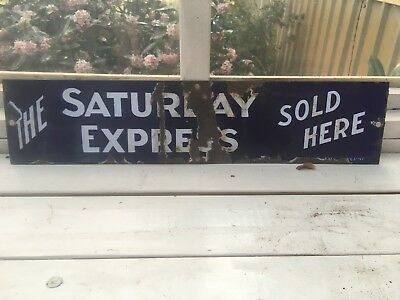 Enamel Sign Saturday Express Sold Here