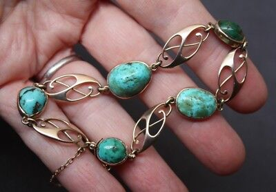 MURRLE BENNETT signed c1900 Arts & Crafts 9ct gold and turquoise bracelet-Knox ?
