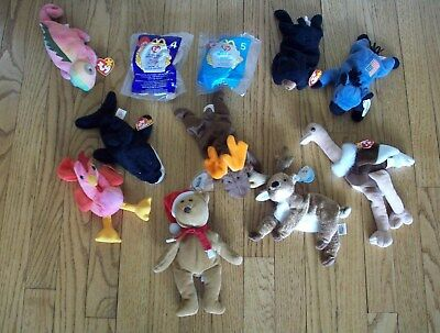 Lot of 11 Vintage Ty Beanie Babies 1993, 1994, 1996, 1997, 2000
