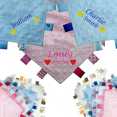 Personalised Embroidered Baby Taggy Taggie Blanket Comforter Family *new Baby*