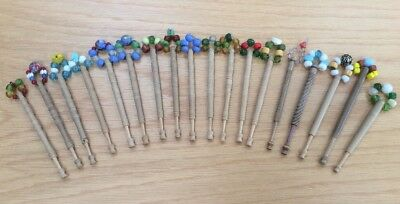 18 Wooden Lacemaking Bobbins - some signs of use. Vintage.