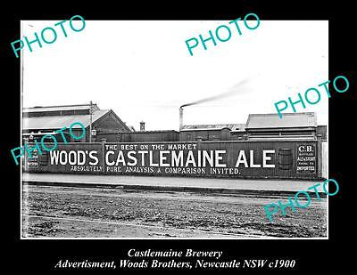 OLD LARGE HISTORIC PHOTO OF CASTLEMAINE BREWERY WOOD BROS AD, NEWCASTLE c1900