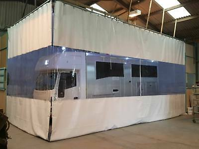 White / Clear Horsebox Workshop Retractable Curtains Heavy Duty Track  L Shape