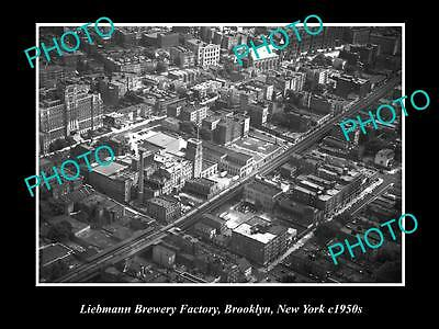 Old Large Historic Photo Of The Liebmann Brewery Factory, Brooklyn New York 1950