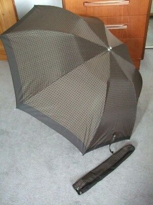 Vintage Umbrella With Cover Push Button & Clear Handle Browns Vgc